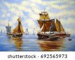oil paintings sea landscape ...   Shutterstock . vector #692565973