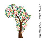tree with african continent... | Shutterstock .eps vector #692575237