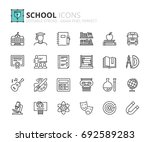 outline icons about school.... | Shutterstock .eps vector #692589283