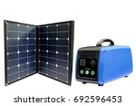 solar panel and battery in a... | Shutterstock . vector #692596453