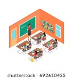 school room with teacher near... | Shutterstock .eps vector #692610433