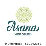 asana. yoga studio logo with... | Shutterstock .eps vector #692642353