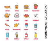 fast food vector line icons... | Shutterstock .eps vector #692655097