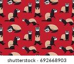 cute ferret red wallpaper | Shutterstock .eps vector #692668903