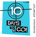 10 days to go retro poster | Shutterstock .eps vector #692687167