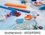 hand made scrapbook post card... | Shutterstock . vector #692695843