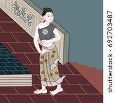 art of applied thai painting... | Shutterstock .eps vector #692703487