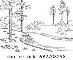 forest river graphic black... | Shutterstock .eps vector #692708293