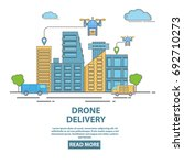 city drone delivery concept... | Shutterstock .eps vector #692710273