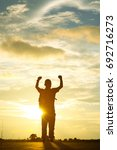 silhouette young man with his...   Shutterstock . vector #692716273