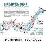 color music notes on a solide... | Shutterstock .eps vector #692717923