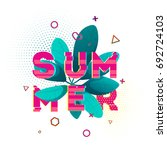 design banner with summer text. ... | Shutterstock . vector #692724103