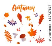 autumn leaf foliage icons of...