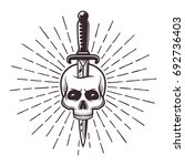 Knife In Skull Tattoo Print...