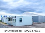 new gray mobile home container | Shutterstock . vector #692757613