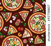 pizza pattern with slices and... | Shutterstock . vector #692758807