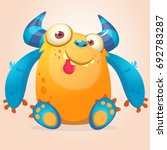 cute cartoon monster. vector... | Shutterstock .eps vector #692783287