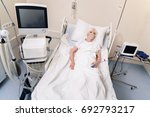 Small photo of Sad ailing lady hoping going home soon