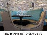 unrecognizable restaurant booth ... | Shutterstock . vector #692793643