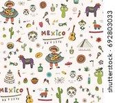 vector cartoon doodle seamless... | Shutterstock .eps vector #692803033