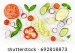 colorful set of vegetables of... | Shutterstock . vector #692818873