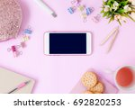 smartphone with fashion... | Shutterstock . vector #692820253