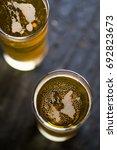 fresh beer top view   Shutterstock . vector #692823673