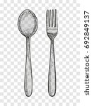 spoon and fork sketch. cutlery...   Shutterstock .eps vector #692849137