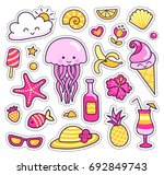set of colorful summer stickers ... | Shutterstock .eps vector #692849743