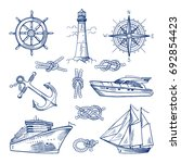 marine doodles set with ships ... | Shutterstock . vector #692854423