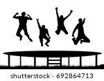 people jumping trampoline | Shutterstock .eps vector #692864713