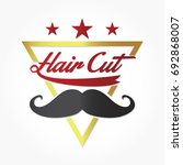 hair cut logo vector with black ... | Shutterstock .eps vector #692868007