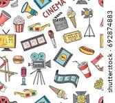 cinema collection set. seamless ... | Shutterstock . vector #692874883