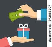 flat businessman hands giving... | Shutterstock .eps vector #692888107