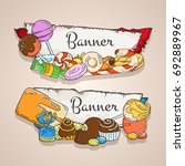 sweet banners set. candy labels.   Shutterstock .eps vector #692889967