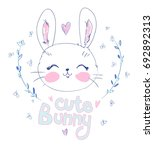 hand drawn cute bunny  vector... | Shutterstock .eps vector #692892313