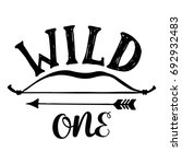 wild one hand brush lettering ... | Shutterstock .eps vector #692932483