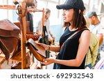 handmade vintage crafted... | Shutterstock . vector #692932543