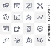 set of 16 search outline icons... | Shutterstock .eps vector #692934547