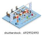 line people airport isometric...   Shutterstock .eps vector #692952493