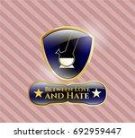 golden badge with bong of... | Shutterstock .eps vector #692959447