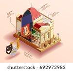 theatre infographic isometric... | Shutterstock .eps vector #692972983