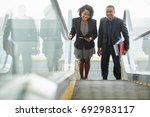 cheerful african american... | Shutterstock . vector #692983117