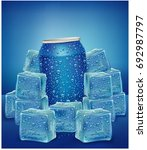 blue aluminum tin cans in ice... | Shutterstock .eps vector #692987797