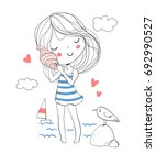 Cute Girl Holding A Seashell...