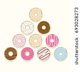 cute donuts vector sets   Shutterstock .eps vector #693028273