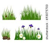 green grass border plant lawn... | Shutterstock .eps vector #693075703