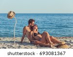young couple in love kissing on ...   Shutterstock . vector #693081367