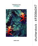 floral vertical postcard design ... | Shutterstock . vector #693086047