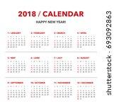 simple calendar layout for 2018 ... | Shutterstock .eps vector #693092863